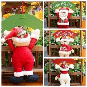 La decoración del árbol de navidad de la puerta ornamento colgante colgante de Santa Claus SnowmanChristmas decoraciones para Home Hotel Puerta del regalo de Navidad Decoración RRA3440