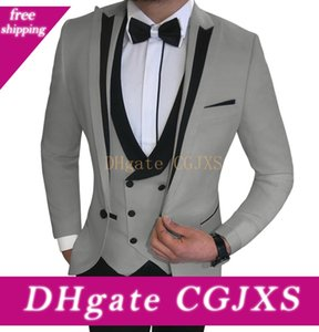 Mens Suits Slim Fit 3 Pieces Business Groom Jacket Tuxedos Blazer White Suits For Wedding Prom Evening (Blazer +Vest +Pants )
