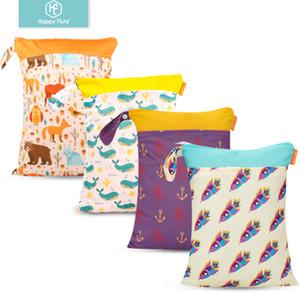 Flauta feliz 1PC reutilizable impermeable de moda imprime seco mojado bolsa de pañales de tela de bolsillo doble manija Wetbags 30 * 40cm mayorista