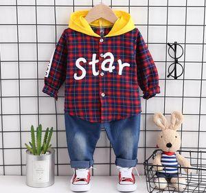 Primavera e Outono New Children 's Meninos desgaste e meninas camisa do bebê Hoods + Jeans Set 2 peças