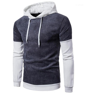 Paneled Fashion Homme Maschio Top con cappuccio Pullover Collar Designer Mens Sleeve Long rughe Hat Contract Color TVNJL