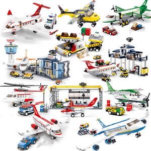 Yolcu Uçağı setleri modeli yapı taşları İl Uçak tuğlalar Uluslararası Havaalanı havayolları istasyon çocuk oyuncakları