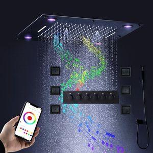 "Matte Black 600x600MM Led Music Rain Misty Waterfall Shower Set Bathroom Square Ceiling Mounted Big Shower System+ 4"" body jets"
