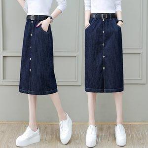 kadınlar için HuwDY jameel 2020 yeni yüksek bel zayıflama orta uzunluktaki tek-aşamalı bir kalça skirtDenim etek kot skirtcovering S062411 ALINE etek
