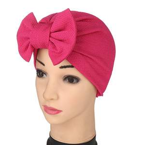 sale spring summer European and American foreign trade Indian turban hat Baotou hat Bowknot pineapple flower Muslim solid color hat DHC992