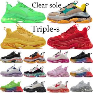 Coppie Cancella Sole tripla s Sneakers per Uomo Donna Triple verde neon Scarpe Giallo Nero Bianco piattaforma 17FW Moda palestra scarpe blu rosso