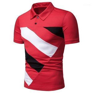 Male Tees Luxury Patchwork Designer Mens Polos Lapel Neck Contrast Color Printed Mens Tops Fashion Short Sleeve
