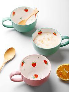 Keramik Japanese Small Strawberry Painted Tasse Nordic Personalizable handgemalte Tassen Canecas Minimalist Kaffeearbeits Cup II50MKB T200506