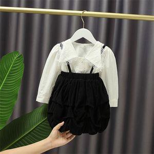Children's Autumn Baby Girls' Long-Sleeved Lace Shirt+Suspender Skirt Cute Princess 2pcs Suit Kids X0923
