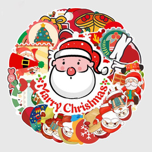 New Year Christmas Creative Sticker Poster Wall Scooter Reusable Waterproof Sticker Children DIY Cartoon Sticker Party Gift AHC2458