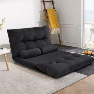 Oris-Fell. Sofa-Bett einstellbares faltendes Futon-Video-Gaming-Sofa-Lounge-Sofa mit zwei Kissen (schwarz) WF015436BAA