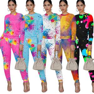 Graffiti Printing Women Tracksuit Long Sleeve T Shirt Pants Leggings Splash Ink Two Pieces Outfits Designers Tie Dye Clothing Sets D92304