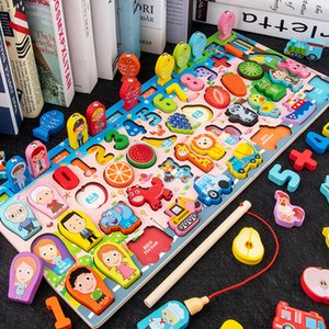 Crianças quebra-cabeça Blocos de madeira Tijolos Multifuncional Math Game Board Digital precoce Intelligence Educação Crianças Brinquedos Presente