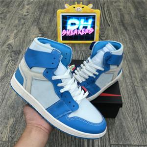 2020 مع صندوق Jumpman 1 1S الرجال أحذية كرة السلة حجر السج UNC بلا خوف ترافيس سكوتس توربو الخضراء شيكاغو الرياضة المدربين حذاء رياضة حجم 36-47