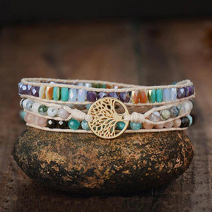 Natural Stone 3Strand Wrap Bracelets For Women Multipe Faceted Crystal Beads Tree of Life Boho Bracelet Fashion Jewelry Gift