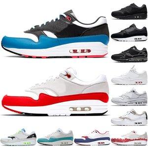 Nike Air Max 1 1s homens mulheres correndo sapatos mens formadores sapatilhas de desporto de alta qualidade Script OG aniversário Triplo Preto corredor tamanho da sapatilha 36-45