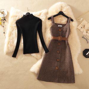 Elbise vestidos 200.921 kemer beden Şık parti ile Streetwear İki Adet Elbise Kadınlar Sonbahar Kış Triko yün Diz Boyu Elbiseler