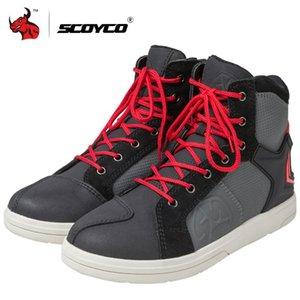 Scarpe SCOYCO Moto stivali impermeabili scarpe casuali pelle microfibra Uomini Moto Motocross Stivali da equitazione traspirante moto