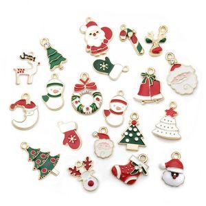 20pcs mischte Weihnachten Charme Emaille-Anhänger-Verzierung Weihnachtsbaum Weihnachtsmann Schneemann Elk Dekoration für Armband-Halskette DIY Schmuckzubehör