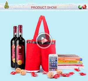1 Pcs Merry Cristmas Gift Treat Candy Wine ottle ag Santa Claus Suspender Pants Trousers Decor Cristmas Gift ags Chris