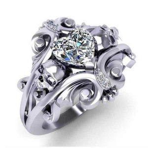 Brand Classic Heart Cubic Zircon Stone Wedding Ring Creative Bending Cirrus Design Silver Plated Proposal Ring Women Jewelry