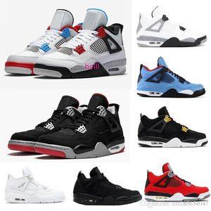 2019 4 O que o 4S Bred Basketball Shoes cimento branco Pure Men dinheiro Laser Black Cat Toro Bravo Royalty Motorsports Sports Sneaker 7-13