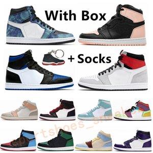 air jordan 1 Haut Jeu Royal Court Green Pine jordan 1 retro Hommes Basketball Chaussures Violet Obsidian 1 Racer bleu UNC Bloodline sport Chaussures de sport Chaussures