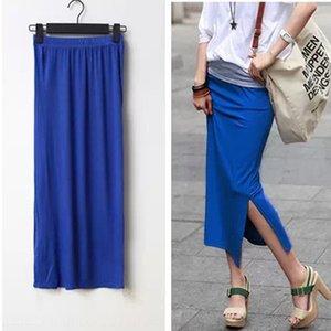 lato modale coreano di KBsSY Donne diviso pannello esterno dell'anca coperte sottile wrap dress sottile one-step one-step skirt