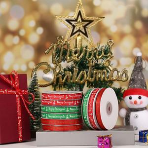 Cinta roja de la Navidad de la cinta verde de la nieve Riband decoración de vacaciones Envoltura de regalo DIY de la Feliz Navidad Accesorios DWC975