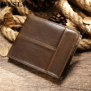 erkekler kredi catrd tutucu kısa cüzdan erkek ince madeni para cüzdan erkek para torbaları 8064 için Westal erkek cüzdan hakiki deri çanta