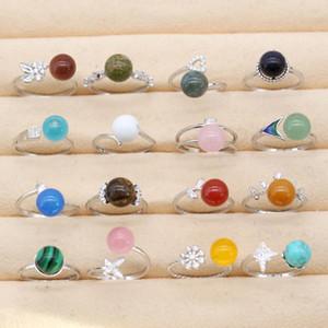 925 Sterling Silver Gemstone Anello regolabile con pietra naturale montato gioielli agata opale turchese di cristallo della pietra di modo per le donne
