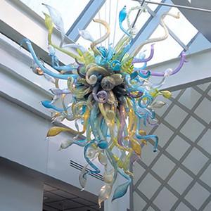 컬러 유리 조명 우아함 샹들리에 조명 높은 예술 장식-L 용 유리 샹들리에 LED 조명 소박한 샹들리에를 날려 매달려