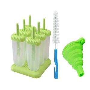 Un conjunto de 6 moldes de paleta reutilizables, máquina popsicle fácil de liberación con embudo de silicona y cepillo de limpieza, cuadrado verde