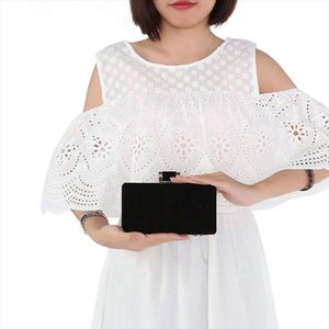 Evening Bags Womens Formal Evening Bags Velvet Wedding Prom Party Clutch Purses Black Drop Shipping Good Quality