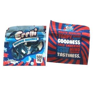 500 mg Errlli Gummi köpekbalığı yenilebilir ambalaj torbası 600mgSour Terp tarayıcılar geçirmez savaş başlığı kukaları koku boş şeker Mylar çanta yenilebilir OWF1986