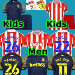 Hommes + Kids 2020 2021 Stoke City 20 21 Jersey Soccer Campbell 26 Clucas McClean Maillot de Foot Camiseta De Fútbbol Home Shirts de football