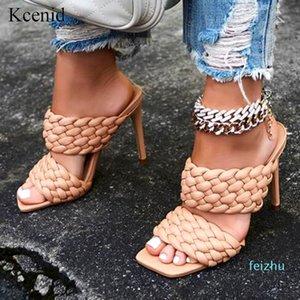 yüksek topuklu moda PU deri kare ayak ayakkabı örmek Sıcak satış-Kcenid Yaz terlik kadın rome sandalet 35-42 açık terlik womens
