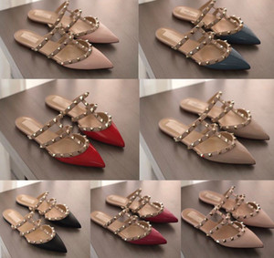 Popular Rock Studs Sandals Slippers Sexy Rivets Pointed Toe Women Flats Luxurious Brands Comfort Outdoor Slipper Loafers Walking EU35-43