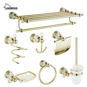 مجموعة العتيقة الذهب النحاس المصقول حمام الأجهزة مجموعة كريستال اكسسوارات الحمام Er1 الحائط المنتجات