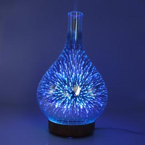 Parfüm Lambalar 3D Fireworks Cam Nemlendirici Renkli LED Gradient Gece Işığı Aromaterapi Makinası Ev Esansiyel Yağı Yayıcı OWE936