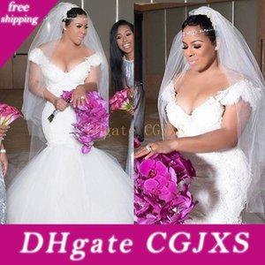 2019 Plus Размер блокированного плеча Свадебные платья Mermiad Шнурок Тюль Южноафриканский Bridal платья Китай