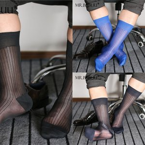 tDOyZ BCsBV Mr. Babu calze a quattro colori single-bottom a strisce sottili di nylon liscio stoc giapponese vestito da affari metà del tubo degli uomini TNT trasparente
