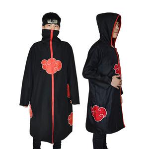 Naruto Costume Akatsuki Cloak Cosplay Sasuke Uchiha Cape Cosplay Itachi Clothing Costume S-XXL Headband Ring Necklace