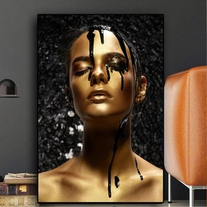 Black and Gold Woman Painting On Canvas Poster and Prints Modern Wall Picture for Living Room Home Decor Mural Lienzo Decorativo