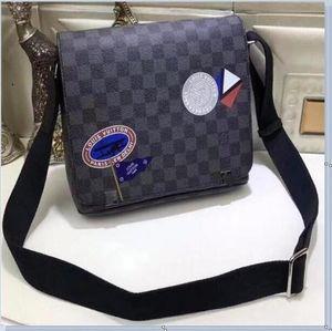 Louis Vuitton Gucci 2020 Vintage Crazy Horse Кожа Холста Посланник Сумка Laptop Briefcase Crossbody Сумка для мужчин Дорожной сумки