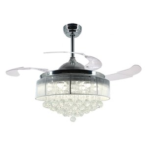 36 Inch 42 Inch Modern LED Ceiling Fan Retractable Blades Crystal Chandelier Fan with Remote Control Chandeliers Ceiling Light Lamp