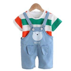 Ropa de bebé Conjuntos de verano Niños bebés ropa infantil de algodón niños y niñas de banda Tops Suspender Equipos ropa de niños de la camiseta + Set