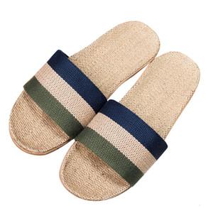 SIKETU Zapatilla Hombres antideslizante de lino Inicio cubierta Baño de punta abierta Pisos Zapatillas Diapositivas playa zapatos Calzado Zapatos de A20