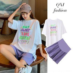 q040R maternidade terno verão set + vestuário barriga Maternidade terninho suporte 2020 calças perna larga set