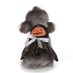 Fashion Halloween Dogs Costumes Pumpkin Spider Web Pet Dresses Party Cats Clothes Soft Breathable Puppy Clothing Teddy Schnauzer Supplies